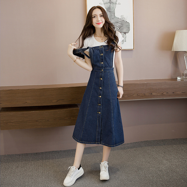 Straps Denim Dress Braces Suspender Girl Aline Dress School Clothes Vestido US Dropping Shipping