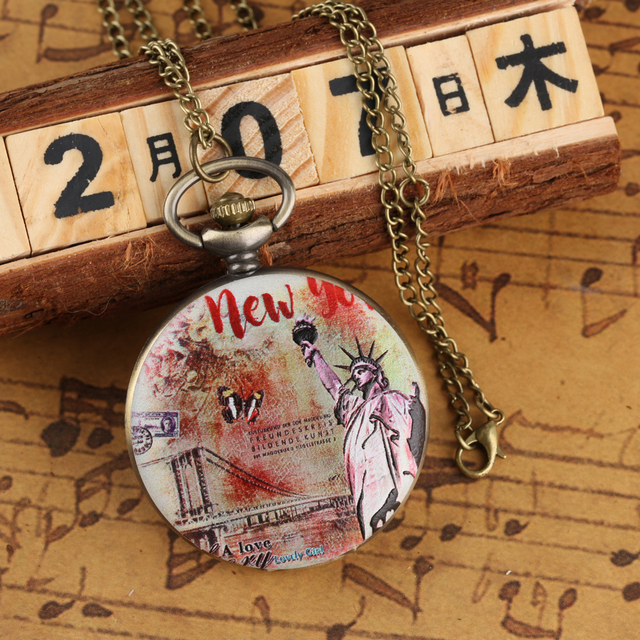 Mens Quartz Pocket Watch Statue of Liberty Pattern Necklace Watch for Boy Arabic Numeral Pocket Watches for Teenager