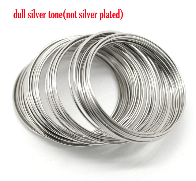 Silver Color Memory Beading Wire 40mm-45mm Dia. 200 loops (B17927)
