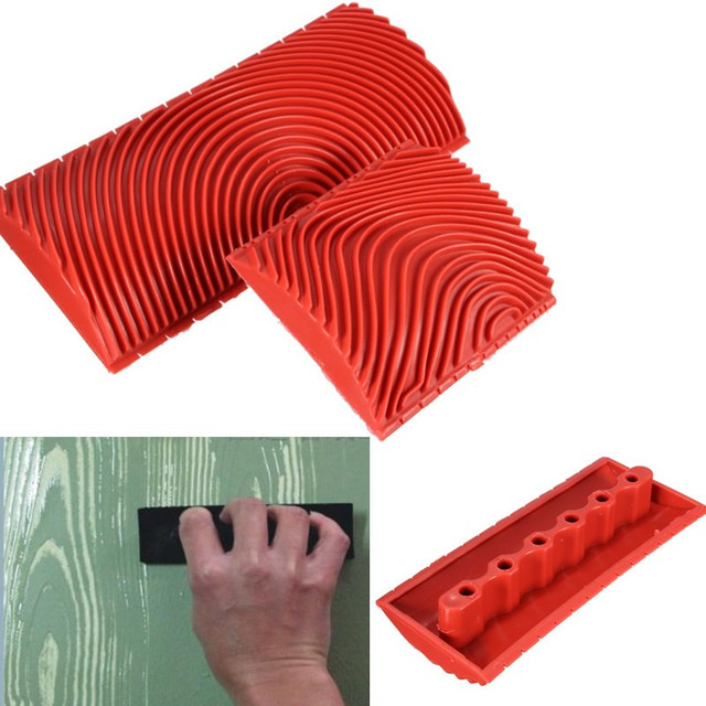 BMBY-2pcs Wood Graining Grain Rubber Patin Painting Effects DIY Wall Decoration Tools