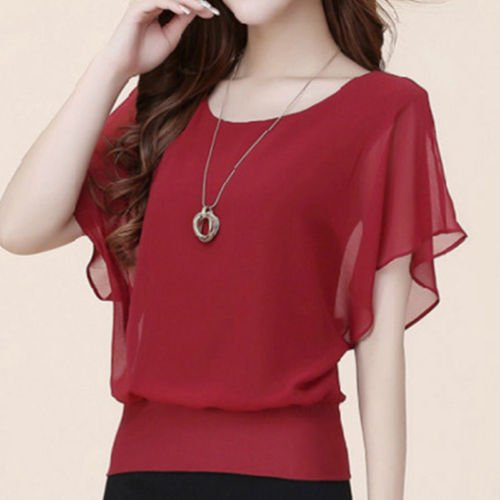 Sexy Womens Batwing Short Sleeve Ladies Summer Casual Loose Tops Blouse