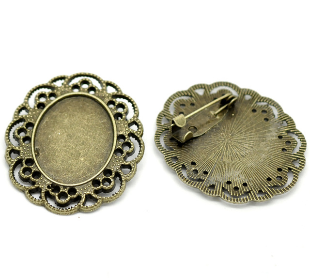10PCs Antique Bronze Oval Cabochon Frame Setting Brooches 4cmx3.5cm(Fit 25mmx19.5mm)  (B19732)