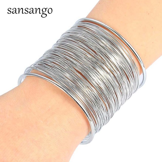Fashion Gold Silver Plated Exaggerated European Multi Layer Wide Cuff Open Wristband Bracelets & Bangles For Women Jewelry Gift