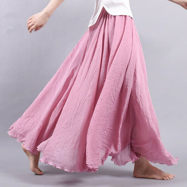 14 Colors Summer Long Skirt Womens  Bohemian Brand Circle Cotton Maxi Falda Elastic Waist A-Linen Beach Ankle-Length Skirt