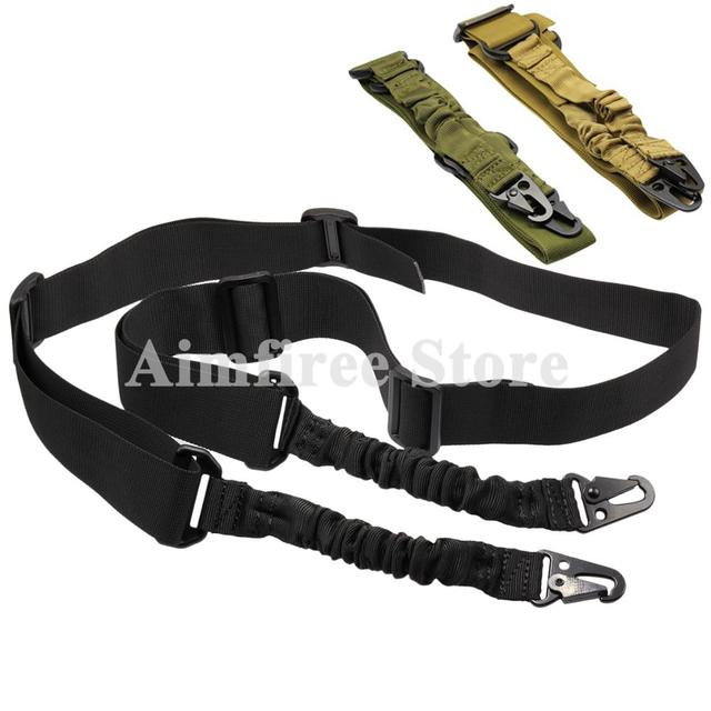 Tactical 2 Point Bungee Gun Sling Shoulder Strap Adjustable Nylon Two Point Rifle Sling Bungee QD Metal Buckle