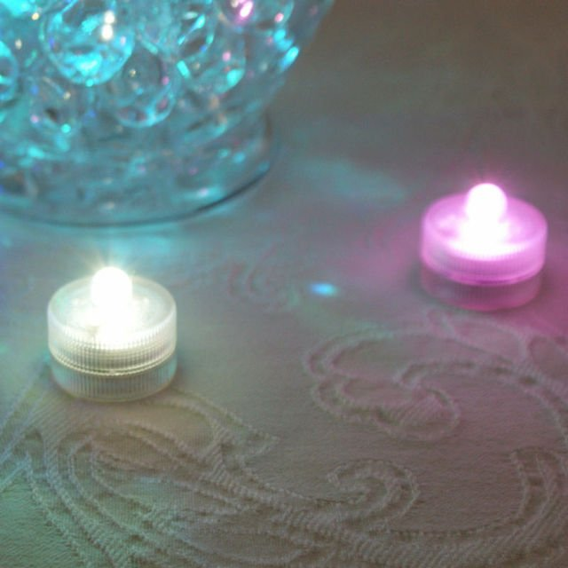 10 pcs/lot  Waterproof Underwater Battery Powered Submersible LED Tea Lights Candle for Wedding Party Decorations