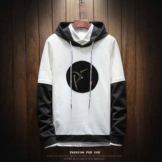2019 Spring Autumn Korean Style Men's Fashion Casual hooded Pullover Sweatshirt Tide Solid Color fake two pieces Hoodies Male