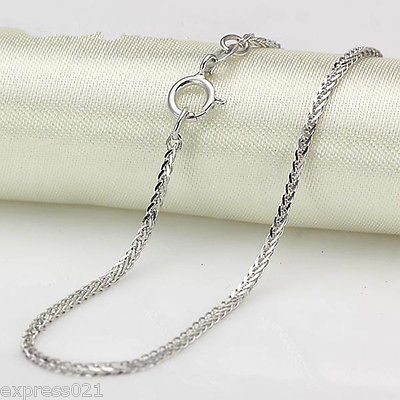Pure 18K Solid White Gold Necklace/ Wheat Shiny Link Chain Necklace/ 1.7-2g