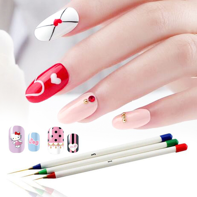 WiRinef 3pcs/set Nail Line Drawing Brush Pen Nail Art Brushes UV Gel Polish Acrylic Pen Painting Dotting Manicure Tools