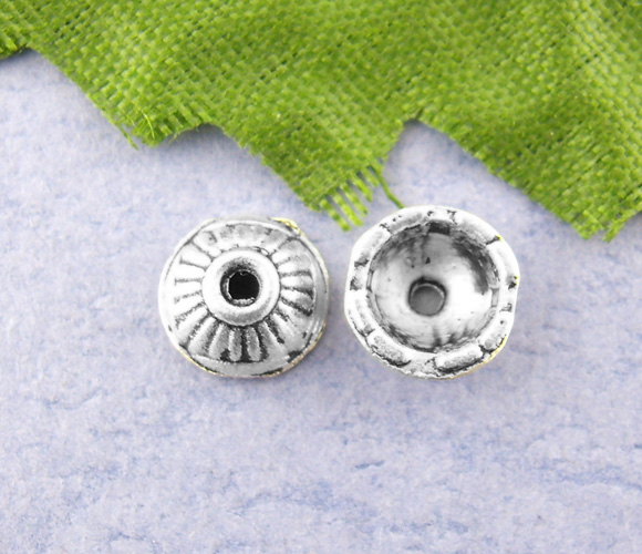 DoreenBeads 80PCs Silver Color Spacers Caps Beads 7mm dia. (B00075), yiwu