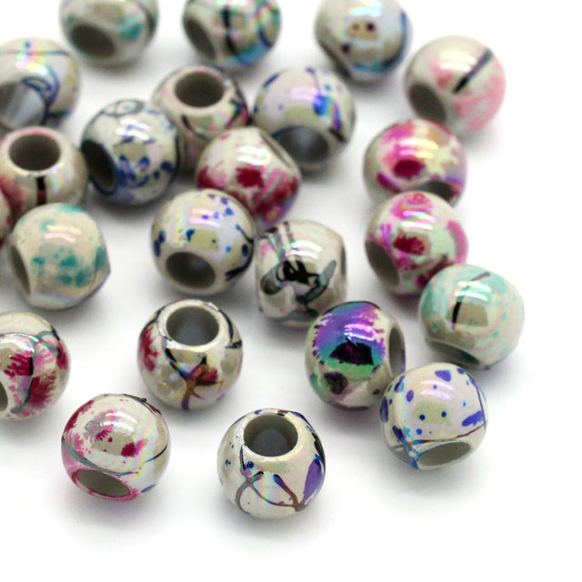 DoreenBeads Acrylic Spacer Beads Round Mixed AB Color Drawbench 8mm Dia,Hole:Approx 4mm,500PCs (B24729) yiwu