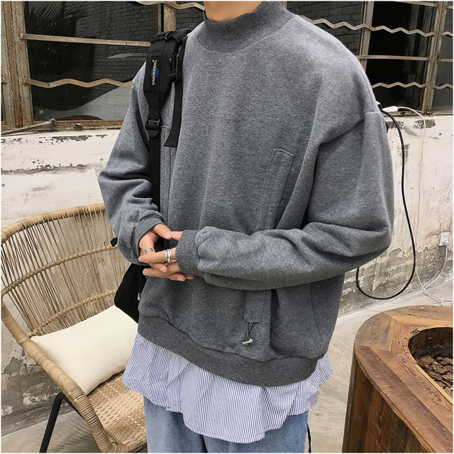 2019 Spring And Autumn New Korean Version Of The Trend Of Long-sleeved Solid Color Fake Two-piece Thick Fashion Casual Pullover