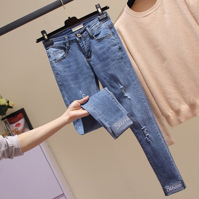 Casual Big Size High Waist Jeans Woman Autumn Casual Fashion Slim Button Stretch Skinny Denim Pencil Pants Plus Size  G3P7