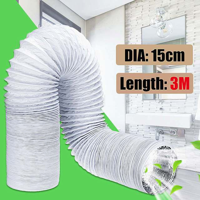 3 Meter Exhaust Pipe Flexible Air Conditioner Spare Parts Exhaust Pipe Vent Hose Outlet 150mm Ventilation Duct Vent Hose