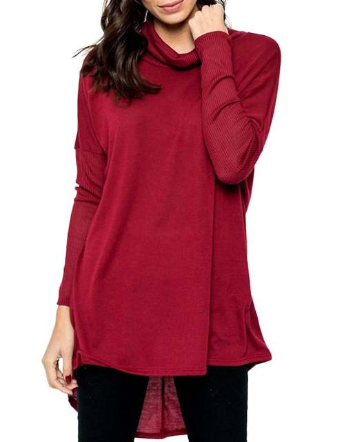 Plus Size 2019 ZANZEA Blouse Shirts Women Autumn Casual Loose Solid Bat Sleeve Turtleneck Long Tops Pullover Irregular Shirt 2XL