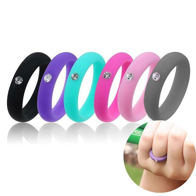 Hot Fashion Women Silicone Wedding Band Rhinestone Ring Jewelry Valentine's Day Gift