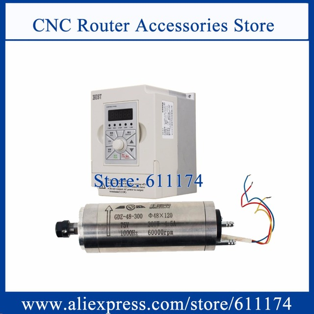 High speed 60000rpm CNC Milliing spindle motor 300w 75V Water cooled Spindle Motor + 1.5Kw AC220V Frequency VFD Inverter