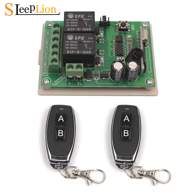 Sleeplion 24V 2CH Switch With Remote Control Relay Module Universal 24V 2 Channel 315MHz 433MHz Remote Switch Relay Receiver