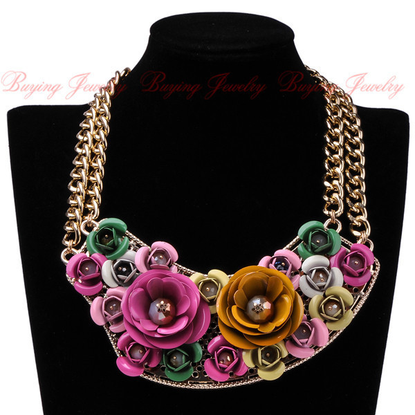 Shop Free Shipping Elegant Spring Romantic Women's Jewelry Gift Golden Chain Paint Resin Rose Flower Statement Bib Necklace