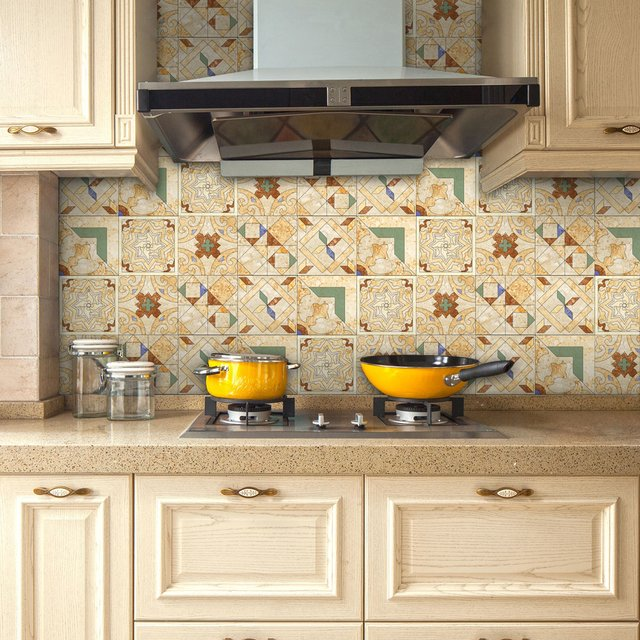"""Yanqiao Retro Ceramic Tiles Pattern Wall Sticker Removable DIY Home Decor Self Adhesive DIY Home Decal Kitchen 125.98x7.87"""""""
