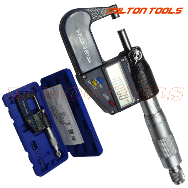 25mm/0.001mm Electronic Digital Micrometer  Caliper Gauge Meter Chrome-plated Stainless Steel Outside Micrometer