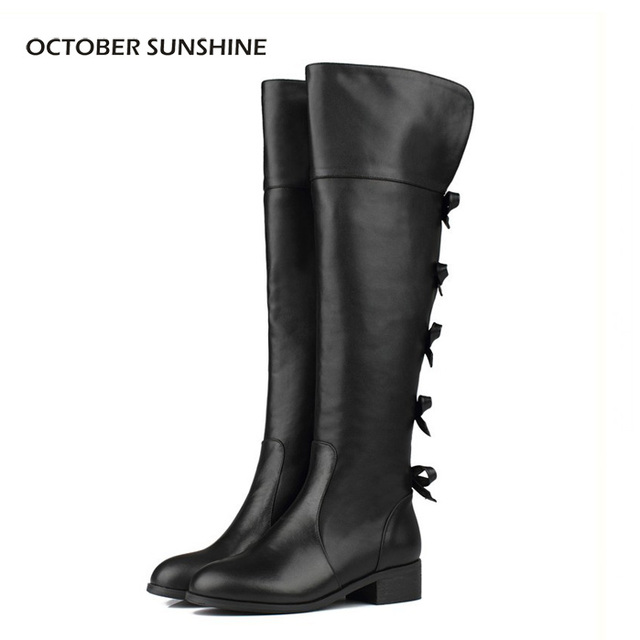 OCTOBER SUNSHINE women brand designer boots bowtie Women over-the-Knee High motorcycle Knight Boots high leg riding boots