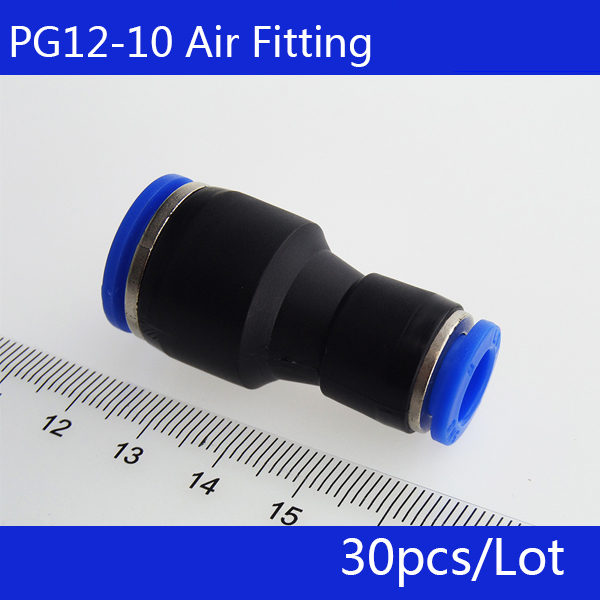 Free shipping 30pcs PG12-10 Unequal Diameter Air Tube Fitting Straight Union , One Touch Push In Pneumatic Fitting Connectors