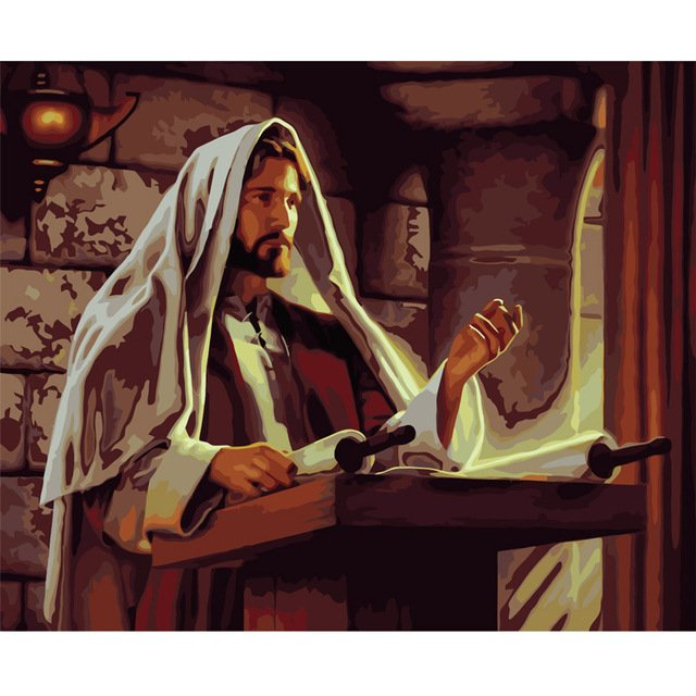2017 NEW Jesus preached picture By Numbers DIY Hand Painted Oil Painting By Numbers On Canvas Wall Pictures For Living Room
