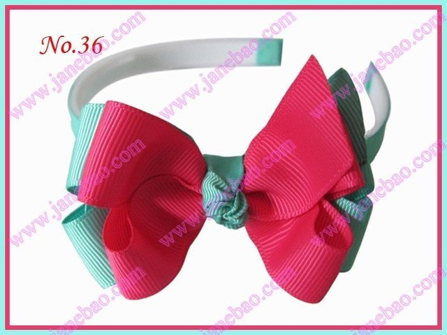 """Free shipping 500pcs Boutique Girl Headband 3-3.5"""" two tone double hair bow clip"""