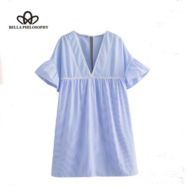 Bella Philosophy 2018 summer solid blue women jumpsuit v-neck hollow out female rompers short sleeves ladies sweet playsuits