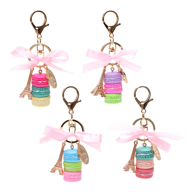 Car Key Rings Gold Metal Key Holder Lovely Macaron Keychains Car-styling Key Chain Keyring Auto Accessories Gifts for Girls