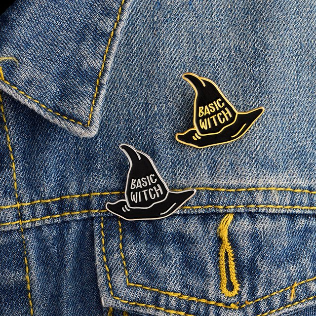 Basic witch pins and brooches Badges Hard enamel pins Witch hat pin Witch jewelry Denim jackets accessories