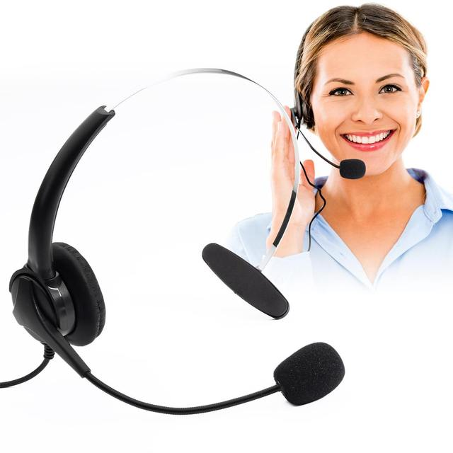RJ11 Crystal Head Hands-free Call Center Noise Cancelling Binaural Headset Headphone With Mic for Desk Telephone