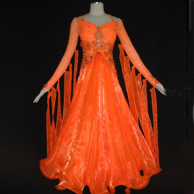 2016 Orange Gorgeous Waltz Tango Ballroom Dance Dress For Woman  B-1175