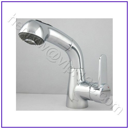 L15821 - Luxury Deck Mounted Chrome Color Brass Material Hot & Cold Water of Pull Out Removable Tap