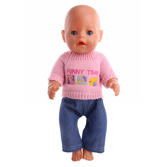 Handmade Doll pink sweater +jeans Fit 18 Inch American  Doll &43cm Baby doll Clothes