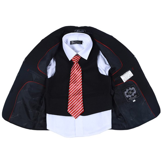 new arrival three piece  boys tuexdeo 100% pure black boys suit  for flower boy wedding