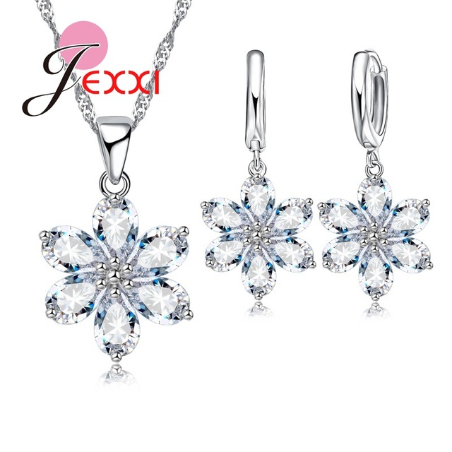 Exquisite Clear Crystal Flower Woman Wedding Jewelry Set Beautiful 925 Sterling Silver Necklace + Earrings Pendant