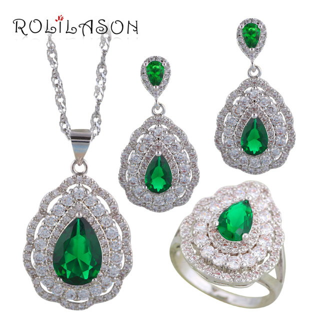 ROLILASON Green Zircon Water drop Silver filled 925 stamped Anniversary Jewelry Sets Earrings Necklace rings JS699