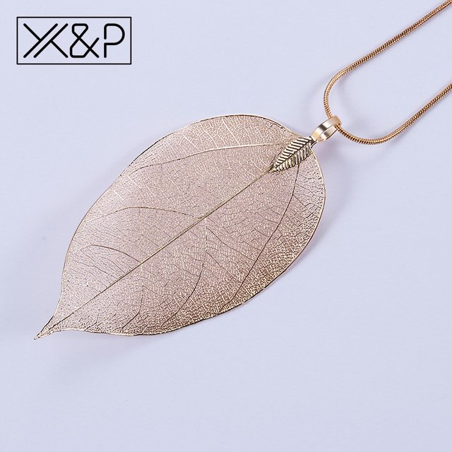 X&P Creative Vintage Ethnic Metal Plant Pendant Necklaces for Women Men Fashion Rose Gold Leaf Rope Chain Necklace Jewelry Gift