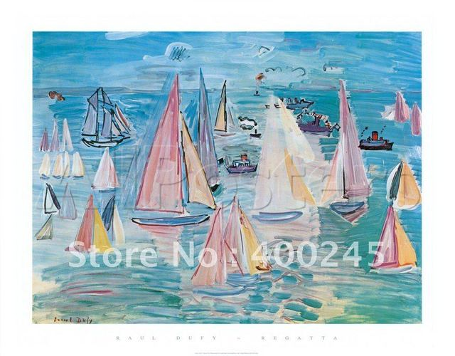 Boats oil painting for sale Landscape art Regatta by Raoul Dufy reproduction 100% handmade High quality