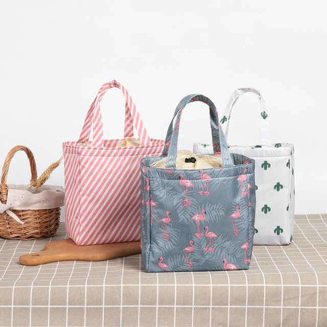 1pc Leisure New Fresh Insulation Cold Bales Thermal Oxford Lunch Bag Waterproof Convenient Leisure Bag Cute Flamingo Cuctas Tote