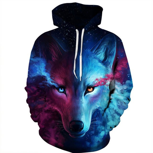 Women 2018 New Fashion Spring Autumn Pullover Hoodies Space Galaxy Wolf Hoodie Sweatshirts 3D Tracksuit Streetwear Coat Hoody