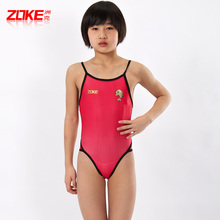 Free shipping Professional zoke child swimwear female big boy child one piece swimwear swimsuit triangle spa