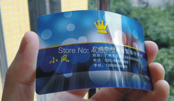 free shipping 0.38mm glossy plastic pvc business cards printing both sides new fashion