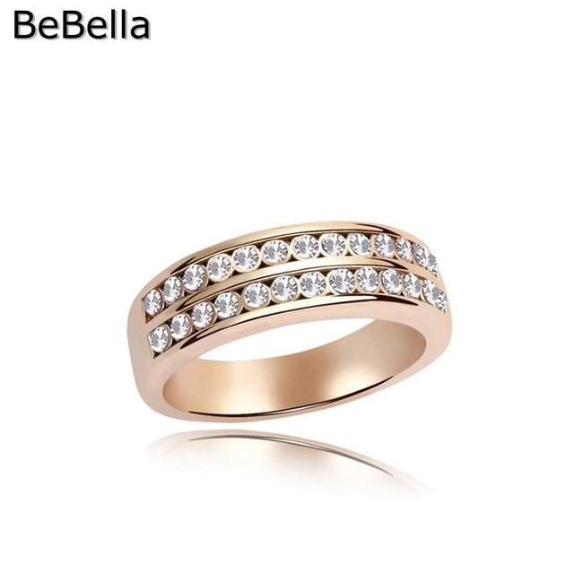 BeBella gold color plated ring made with double-layer Czech crystals for girls women Christmas gift