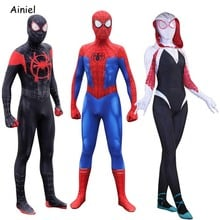 Miles Morales Costume Peter Parker Costume Gwen Stacy  Mask Spiderman Suit Zentai Cosplay Costume for Kids Women Men