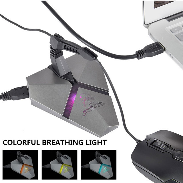 Cable Holder Gaming HUB Built-In 7 Changing Colors LED Backlit Mouse Bungee USB Cables Mental 3-Port Tablets  Networking