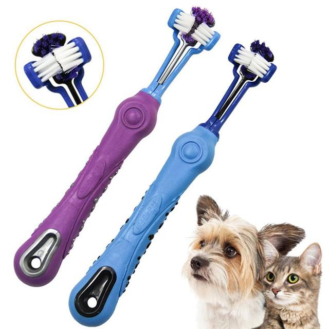2PCS Three-Head Non-Slip Pet Toothbrush Reusable Dog Toothbrush Dog Teeth Cleaning Brush Pet Cleaning Supplies Dog Oral Cleaning