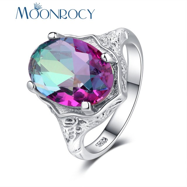 MOONROCY Silver Color Cubic Zirconia CZ Colourful Crystal Party Rings for Women Girls Drop Shipping Jewelry Wholesale Gift